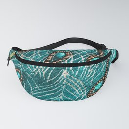 Peacock Feathers in Chic Emerald Green Diamonds Fanny Pack