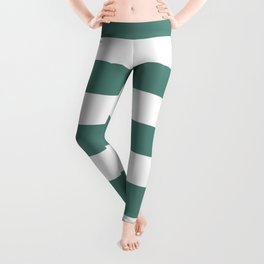 Wintergreen Dream - solid color - white stripes pattern Leggings