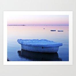 Ice Raft at Dusk on Calm Seas Art Print