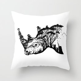 Wild Rhino Throw Pillow