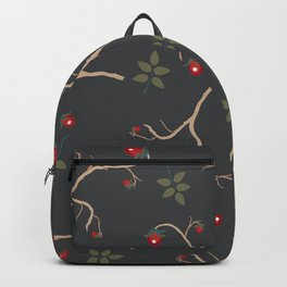Red berry, Christmas Brier Spray Pattern. Hand drawn, whimsical, traditional style Backpack