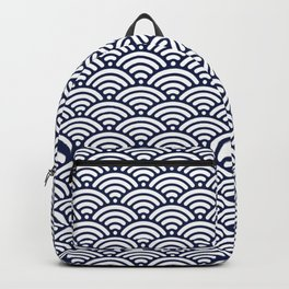 Navy Blue Seigaiha Sea Wave Nautical Minimalist Backpack
