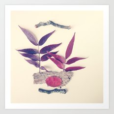 Red Leaf and Twigs Collection Art Print
