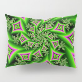 Green And Pink Shapes Fractal Pillow Sham