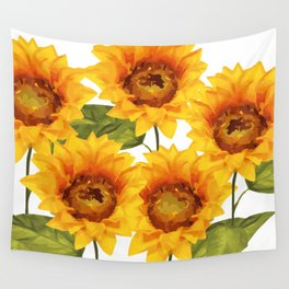 Design Five Sunflower on white Background Wall Tapestry