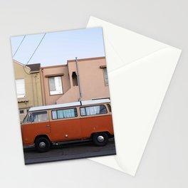 Vanlife San Francisco Bus Photography, Sunset District Houses, California Vibes Art, Orange Van Art Stationery Cards