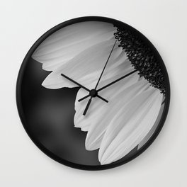 Black and White Sunflower Photography Print Wall Clock
