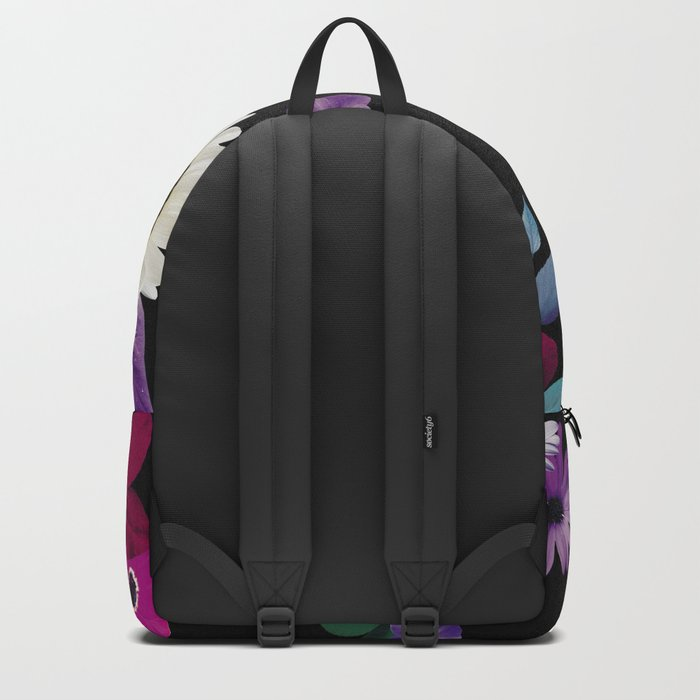 Bright flowers on a black background Backpack