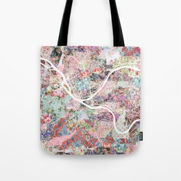 Pittsburgh map flowers Tote Bag