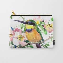 Bee-Eater and Rosehip, birds and flowers, bird art Carry-All Pouch