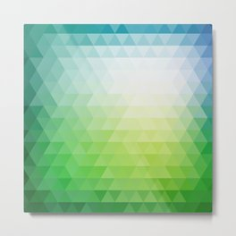 Green Ombre Abstract Triangle Geometric Pattern Metal Print