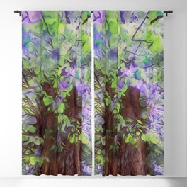 Old Tree Thick Branches Green & Blue Colors Blackout Curtain