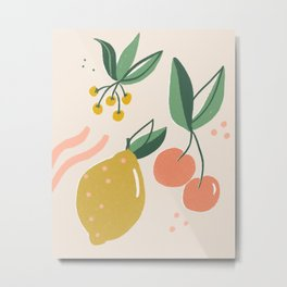 Summery Fruits and Floral Metal Print