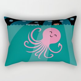 Octopus Selfie at Night Rectangular Pillow