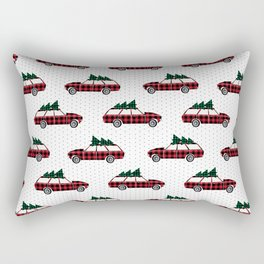 Plaid station wagon suv christmas tree vintage inspired christmas pattern Rectangular Pillow