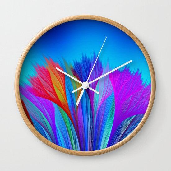 Flower Fantasy in Blue Wall Clock