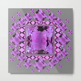 PURPLE AMETHYST FEBRUARY GEM BIRTHSTONES MODERN ART DESIGN Metal Print