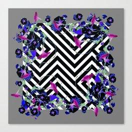 Geometric  black-White Morning Glories Grey Pattern Garden  Art Canvas Print