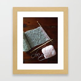 knitting, knitting photos, oatmeal color, peach, natural color, scarf, cotton Framed Art Print