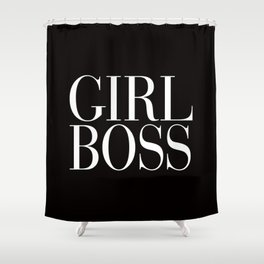 Girl Boss Black Vogue Typography Shower Curtain