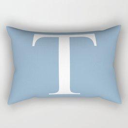 Letter T sign on placid blue background Rectangular Pillow