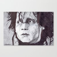 edward scissorhands Canvas Prints featuring Edward Scissorhands   by DeMoose_Art