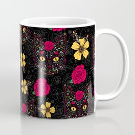 Day of the Dead Kitty Cat Sugar Skull Coffee Mug