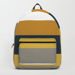 Broad Stripes Pattern 2 in Light and Dark Mustard, Gray, Navy Blue, and White Backpack