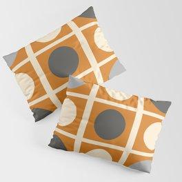 Minimal Abstract Vintage Cream Orange Grey 03 Pillow Sham