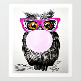 Chewing gum owl Art Print