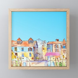 Pretty colorful houses street in old town with blue sky Framed Mini Art Print