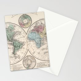 Vintage Map of The World (1886) Stationery Cards