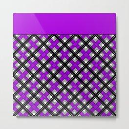Combo black purple plaid Metal Print