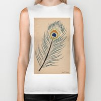 peacock feather Biker Tanks featuring PEACOCK FEATHER by Joelle Poulos