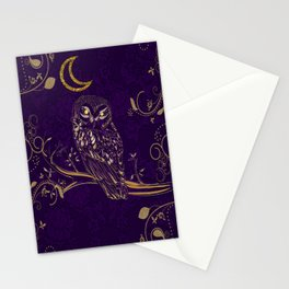 Golden Owl Crescent Moon Stationery Cards