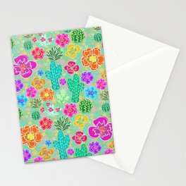Cactus Festival Party - Green Stationery Cards