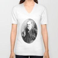 freud V-neck T-shirts featuring Sigmund Freud (Pen Pointillism) by Daniel Point