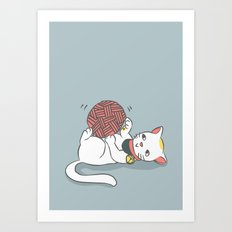 Playful Maneki Neko Art Print