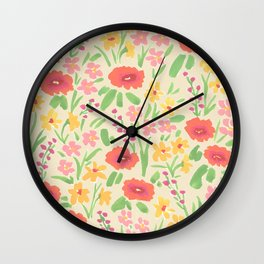 Summer Blooms Wall Clock