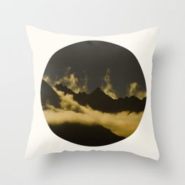 Mid Century Modern Round Circle Photo Graphic Design Mysterious Black Mountains With Rising Clouds Throw Pillow