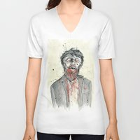 zombie V-neck T-shirts featuring Zombie! by Chris Gauvain