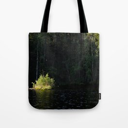 Small island in sunlight at lake shore Tote Bag