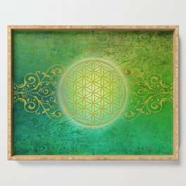 Flower Of Life Vintage gold green Serving Tray