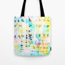 Abstract Puzzle Geos,Watercolor Geometric Painting in Colorful Pastel Tote Bag