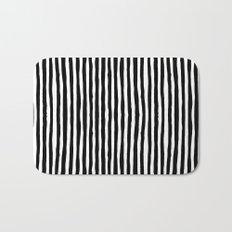 Black and White Vertical Stripes Bath Mat