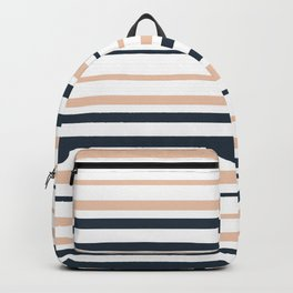 retro, striped, simple, minimalistic, beige and gray Backpack