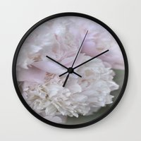 peonies Wall Clocks featuring Peonies by DuniStudioDesign