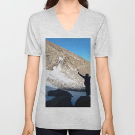 Watercolor People in Nature, IS, Adult 02, Chasm Lake Trail, RMNP, Colorado Unisex V-Neck