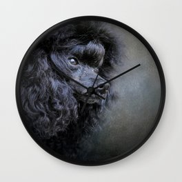 Snack Spotter - Black Toy Poodle Wall Clock