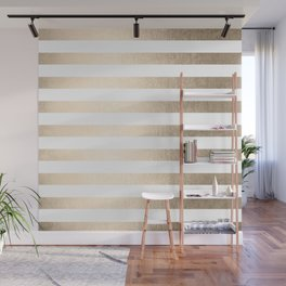 Simply Striped in White Gold Sands Wall Mural